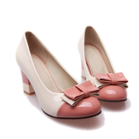 New color matching retro high heel women's shoes Korean round head shallow patent leather PU women's shoes