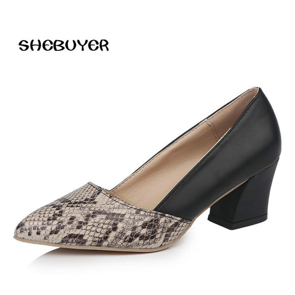 Shebuyer Thick High Heels Shoes Women Pumps Pointed Toe Casual Shoes Slip on High Heels Spring Autumn Footwear Woman Heels 6cm