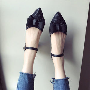 High Heels Women Pointed toe Square Heel Shoes Butterfly knot Women's Pumps Office Ladies Plus Size Shoes Black YX008