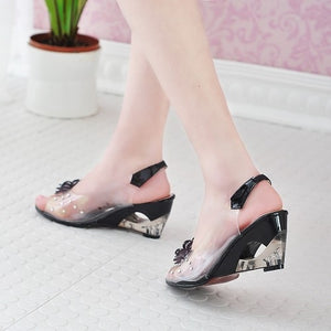 Crystal heel slope  high heel flower fish mouth rhinestone sandals women's shoes high quality fashion wedge heel  dress casual