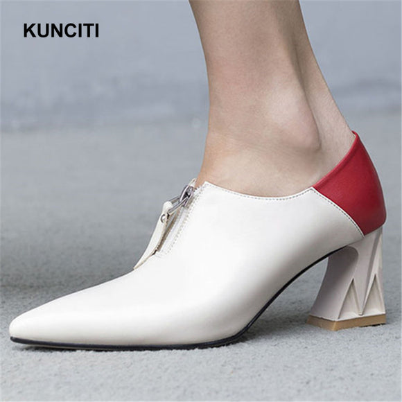 2018 KUNCITI Front Zipper Up Vintage Pumps Pointed Toe Sexy Ladies High Heel Shoes Match Color Soft Skin Leather Loafers G119