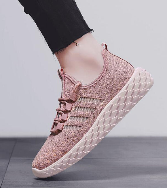 summer new hot women girl fashion lace-up comfortable flyknit  breathe freely sport casual shoes sneakers loafers