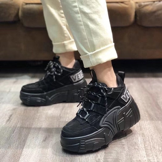 women elevator 2019 lace up round toe sneakers trainers thick sole black runway harajuku genuine leather creepers platform shoes
