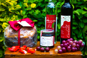 Visciolata sour cherry-infused wine, sour cherry aquavite, jars of visciole in pure sugar syrup,