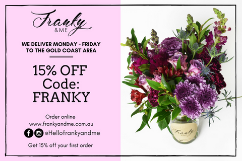 discount code 15% off Franky and me flowers same day delivery Gold Coast