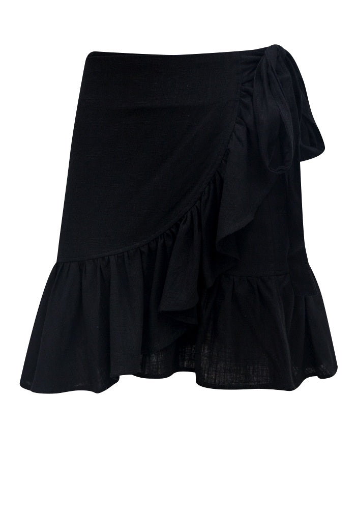 Sunny Girl Black Wrap Skirt SG140740A