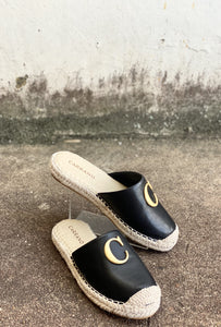 Carrano Espadrille Black Leather Slides