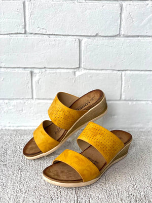Lorella Juniper Wedge Slides Mustard