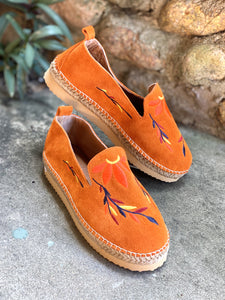 Thyme & Co Thrifty Suede Orange Moccasins