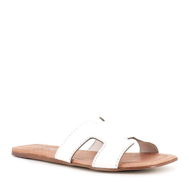 Top End Leamon White Leather Slides