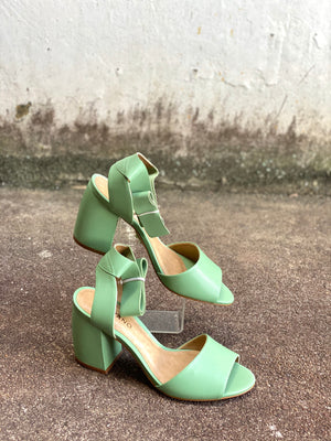 Carrano Pastel Sage Tie Up Heels