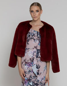 Bariano Meghan Faux Fur Jacket Burgundy