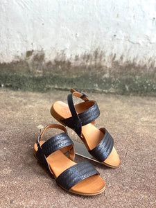 Cabello Silvan Black Leather Sandal