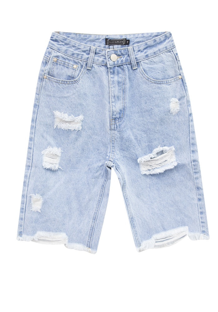 Country Denim Frayed Hem Knee Length Shorts CGJ1315S