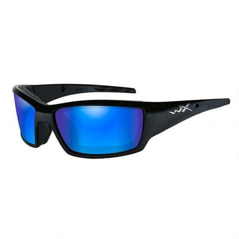 Wiley X Tide Polarized Sunglasses Blue Mirror / Gloss Black Frame