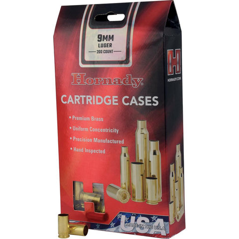 Hornady 8720 Unprimed Brass Handgun Cartridge Cases 9mm Luger 200/ct
