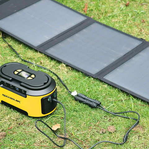 ROCKSOLAR Foldable Solar Panel, Portable 21W 18V Monocrystalline Kit with Charging Cable and Adapters, USB and DC