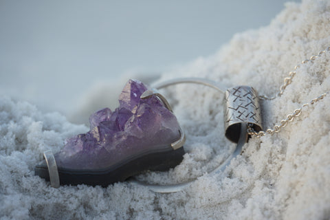 EVENTYR Raw Amethyst and Sterling Silver Pendant
