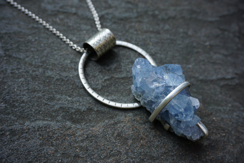 EVENTYR Raw Celestite & Sterling Silver Pendant