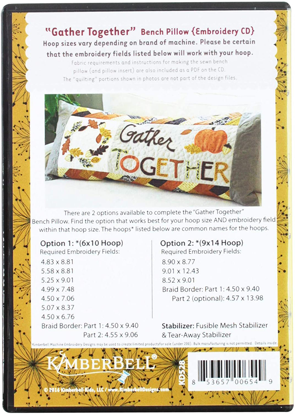 KimberBell - Gather Together - Bench Pillow Machine Embroidery CD
