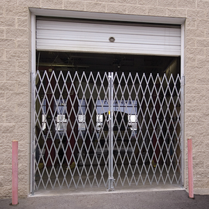 "Secure outside access during the day and add security at night with heavy-duty 15 gauge steel folding gates. Provides easy installation. 6'-8' x 6' Galvanized steel webbing resists corrosion Durable 3"" steel casters allow operator to quickly and fully retract gate when not in use Center drop pin rests in pre-drilled hole to secure gate when extended"