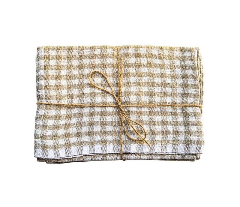 Caravan Gingham Natural/Ivory Tea Towel - Lothantique USA