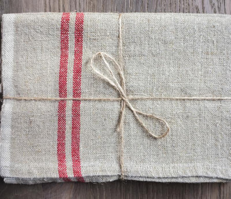 Caravan Vintage Linen Natural/Red Tea Towel - Lothantique USA