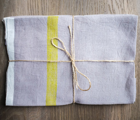 Caravan Laundered Linen Grey/Lime Tea Towel - Lothantique USA