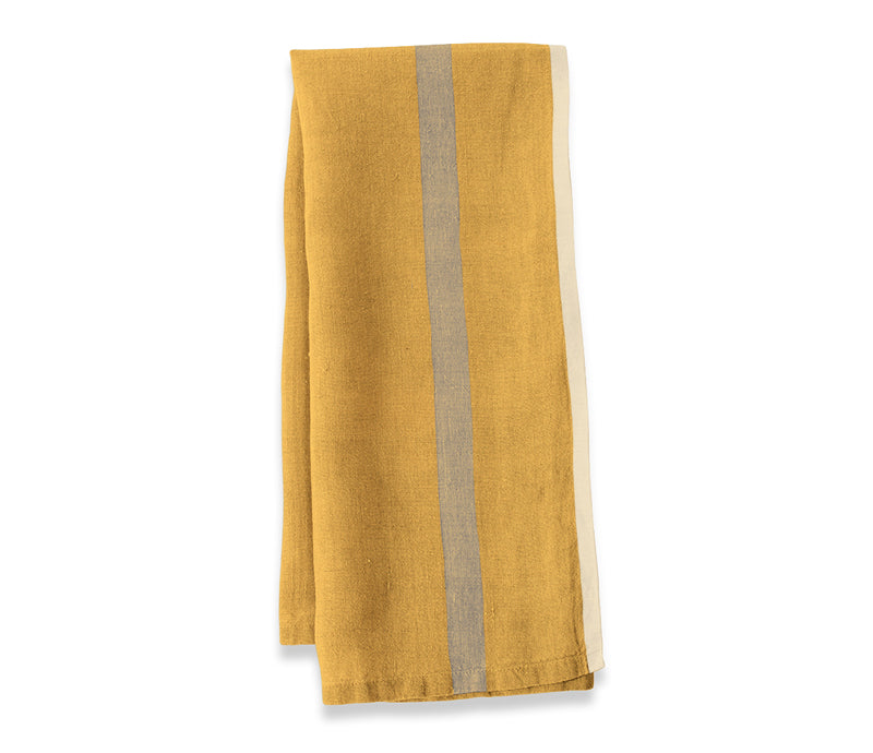 Caravan Laundered Linen Mustard/Grey Tea Towel