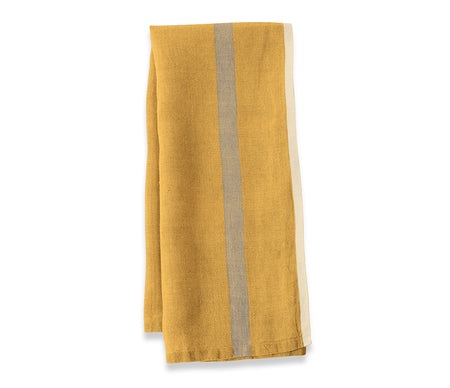 Caravan Laundered Linen Mustard/Grey Tea Towel - Lothantique USA