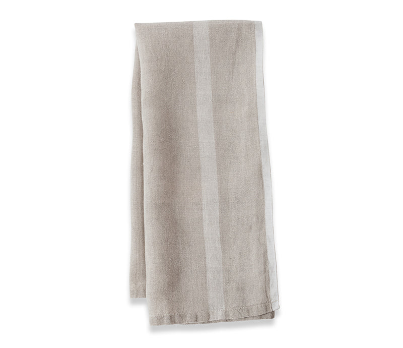 Caravan Laundered Linen Natural/White Tea Towel