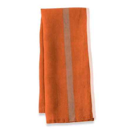 Caravan Laundered Linen Orange/Natural Tea Towel - Lothantique USA