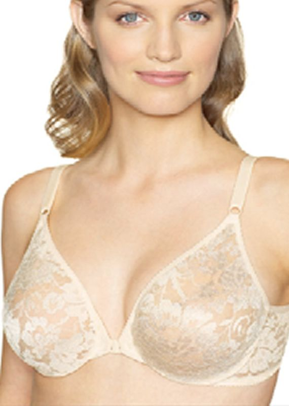 Warners 2593 Sheer Lace Front Close Underwire