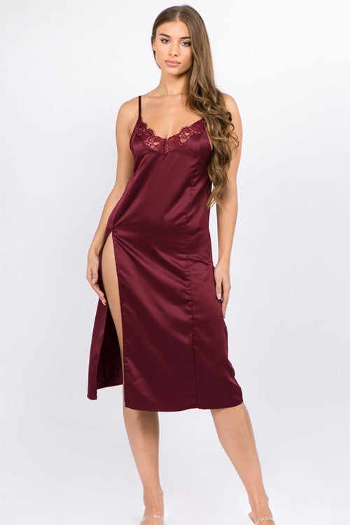 Just Sexy Lingerie Satin Slip Dress Set