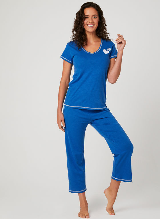 Hamilton Embroidered Hearts Capri PJ Set
