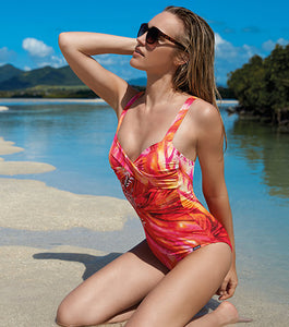 "Sunmarin ""Valencia Orange"" One Piece Twist Front Swim Suit"