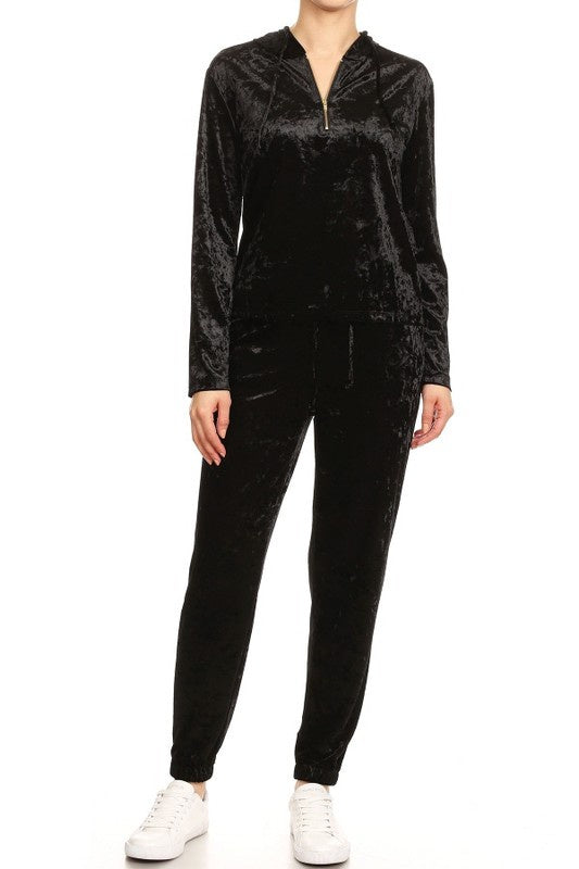 Leggings Depot Velvet Sweatsuit Top