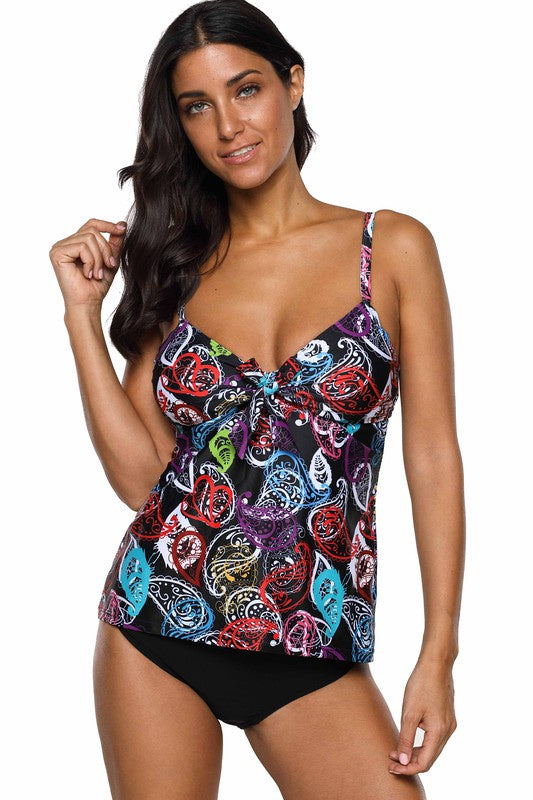Fashion World Patterned Tankini with Bikini Bottom
