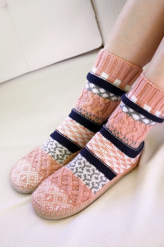 Ruggine Nordic Pattern Knit Slipper Socks