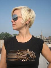 Womens tee - Black w/ Bronze foiling