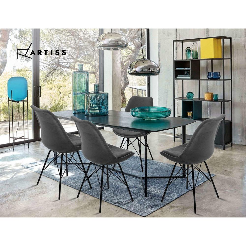 2 x Artiss Dining Chairs DSW Cafe Kitchen Velvet Fabric Padded Iron Legs Grey - Pizzazz Hub
