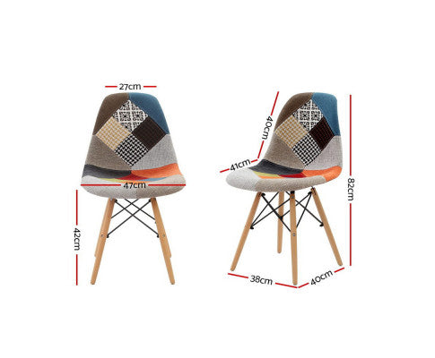 Artiss Set of 4 Retro Beech Fabric Dining Chair - Multi Colou