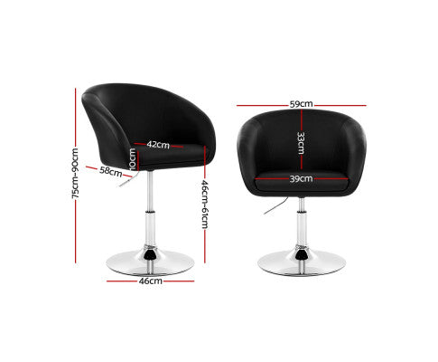 Artiss Bar Stools Gas Lift Leather - Black
