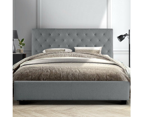 Artiss King Size Bed Frame Wooden Grey VAN