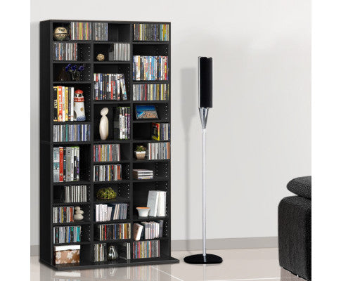 Artiss Adjustable Book CD DVD BluRay Storage Shelf Rack Unit - Black