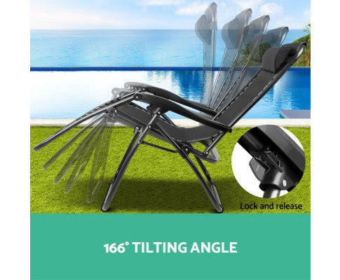 Gardeon Outdoor Portable Camping Recliner - Black