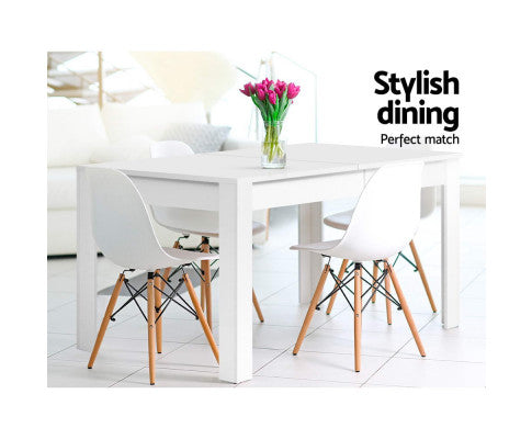 Artiss Dining Table 4 Seater White 120cm