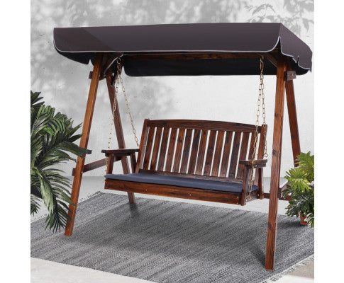Gardeon Wooden Swing Chair Garden Bench Canopy 3 Seater Outdoor Furniture