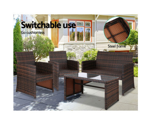 Gardeon Set of 4 Outdoor Wicker Chairs & Table - Brown