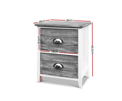 Artiss 2 x Sage Bedside Tables with Drawers - Grey